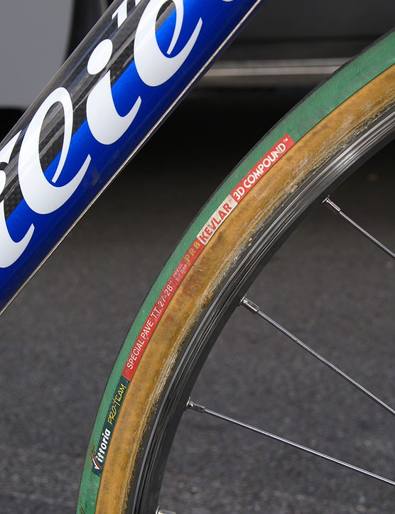 Vittoria provides Ballan with 27mm-wide tubulars specially made to handle the cobbles.