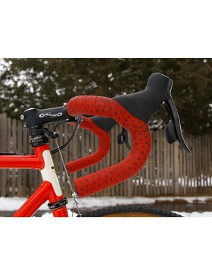 The traditional handlebar bend retains a close reach up top but allows riders to stretch their arms a bit more in the drops