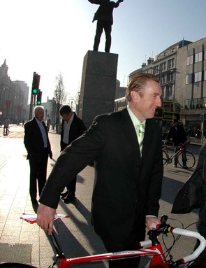 Sean Kelly in front of a statue of the great trade unionist James 'Big Jim' Larkin