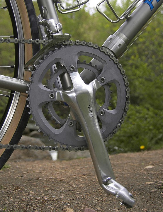 A compact ratio Shimano R700 crankset affords some extra options when Hampsten is climbing