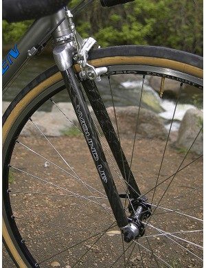 The Wound Up long reach fork allows for fat tires to accommodate Hampsten's soft spot for dirt roads