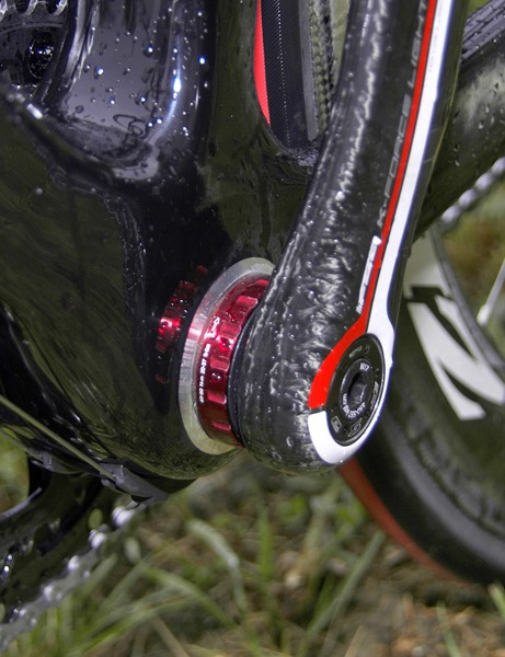 Beefy bottom bracket areas are a regular sitethese days. Schleck's bottom bracket is fitted with ceramic bearings for smoother rolling