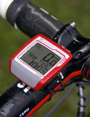 A simple Sigma 1106 computer keeps track of Schleck's day in the saddle.