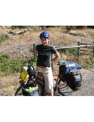 'Mrs Naked',  Sam's wife Andrea Blaseckie, on a cycle tour of the Kettle Valley, British Columbia, Canada