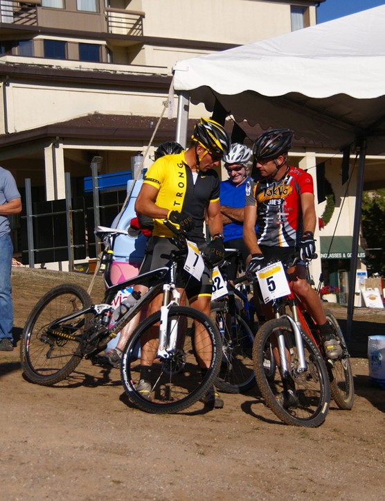 Armstrong and Henry chat things up as they wait in the transition area.