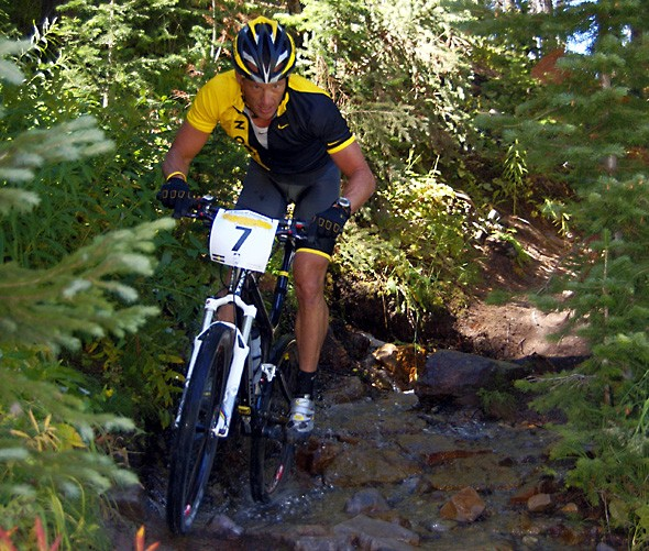 Lance Armstrong in action at the 12 Hours of Snowmass