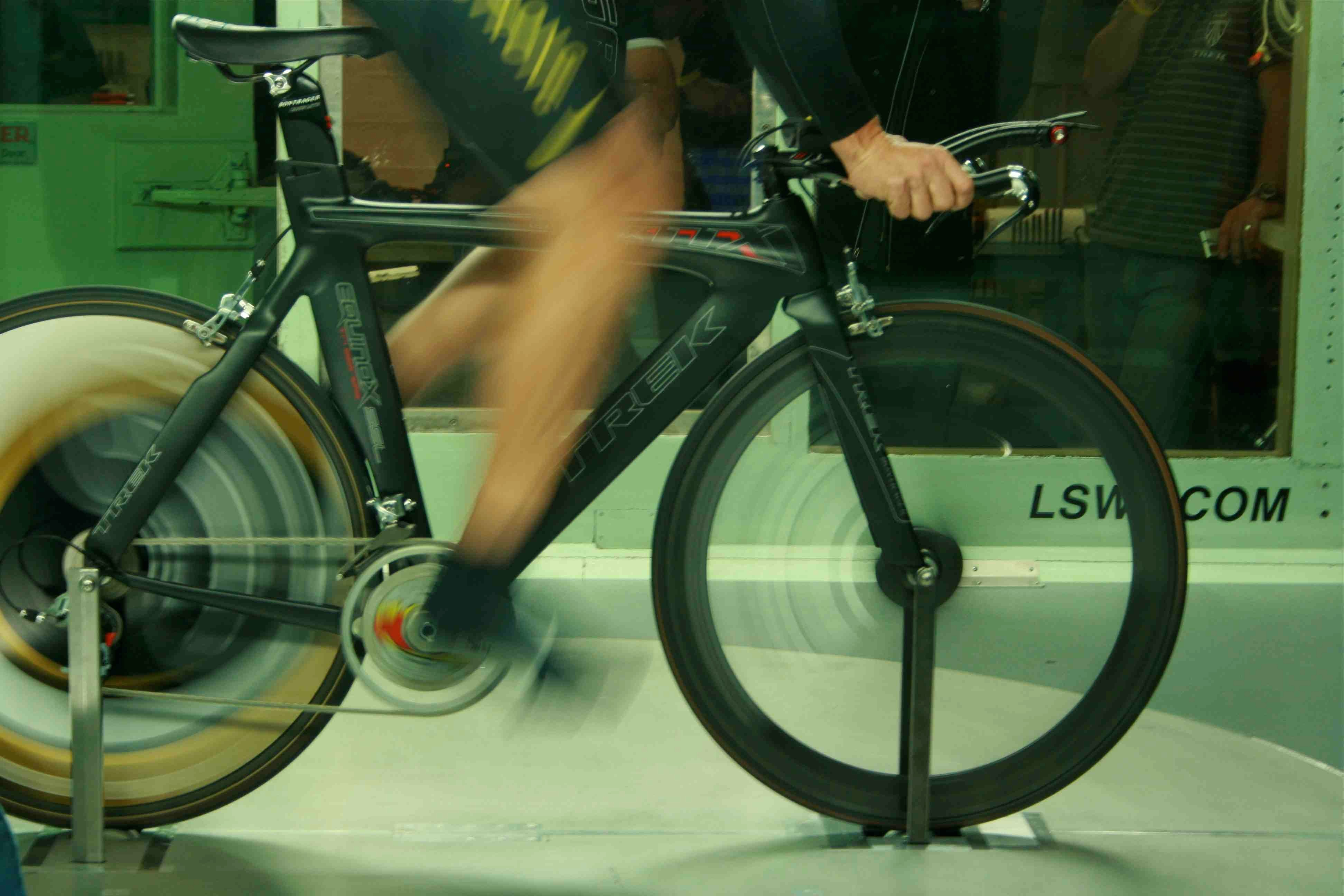 The high RPM blur is back, as Lance Armstrong enters the wind tunnel for the first of many times in his 2009 return to the pro peloton.