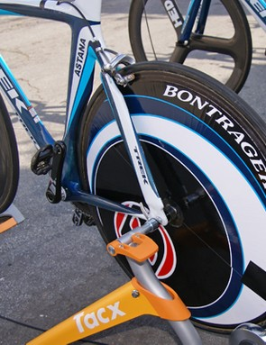Astana is using a mix of rear discs, such as this Lightweight model covered by Bontrager decals