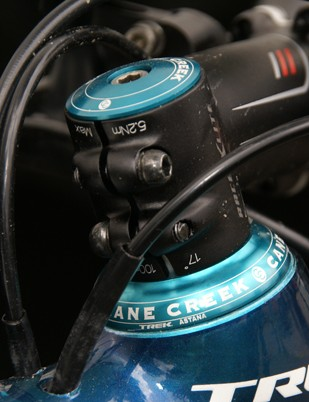Cane Creek supplied the Astana team with custom-colored and laser-etched headsets.