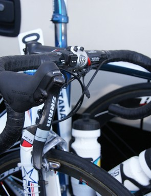 Leipheimer and the Astana boys are using SRAM's new Red group, including the uber-light levers…