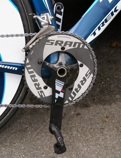 Leipheimer rode with SRAM's new Red crankset fitted with the company's prototype TT outer ring.