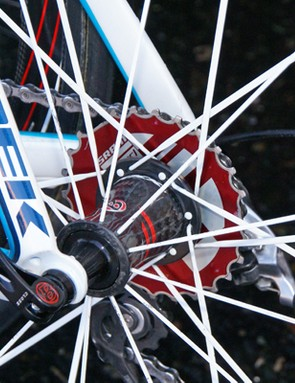 …and the trick new PowerDome cassette. But do these changes now make Leipheimer's bike too light?