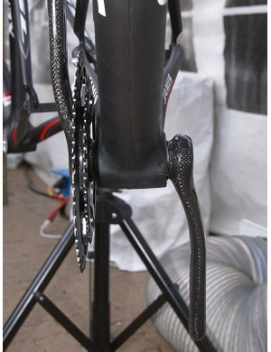 The BB30 shell is 68mm wide and contains the bearings, so pedal spacing can be brought back down.