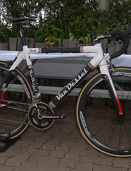 Van Dessel jumped aboard with its updated Rivet carbon road frame & Gin & Trombones 'cross bike.