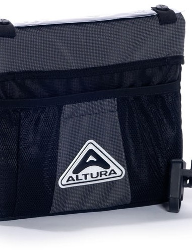 Look for a solid bar bag that won't sag on the handlebar. If it's not waterproof, a cover is handy.