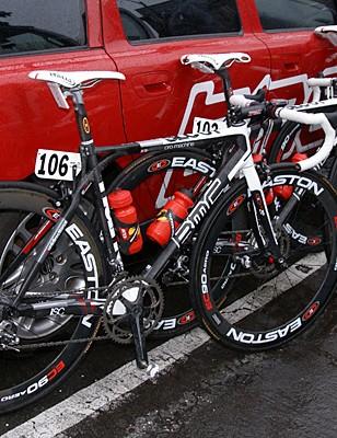A row of BMC bikes await a day's work in the rain.