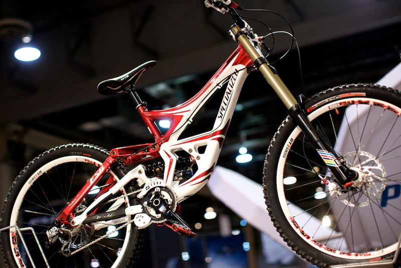 An innocent looking Specialized Demo with world championship stripes. Definitely not Sam Hill's.