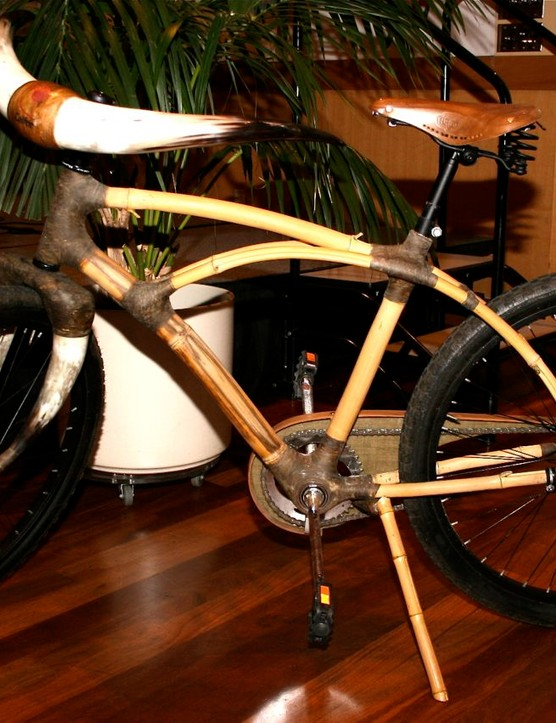 Craig Calfee's Africa-made bamboo city bike drew curious on-lookers galore.