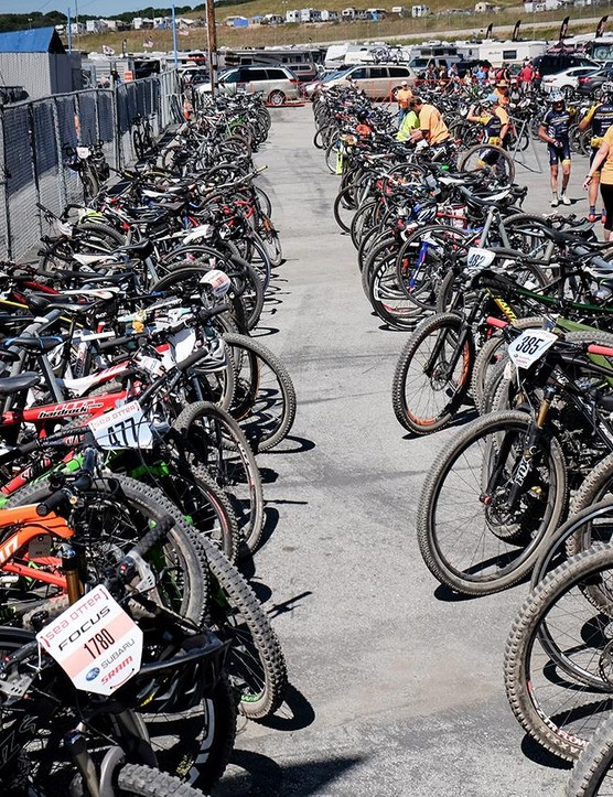The bike-check is always filled to capacity at Sea Otter