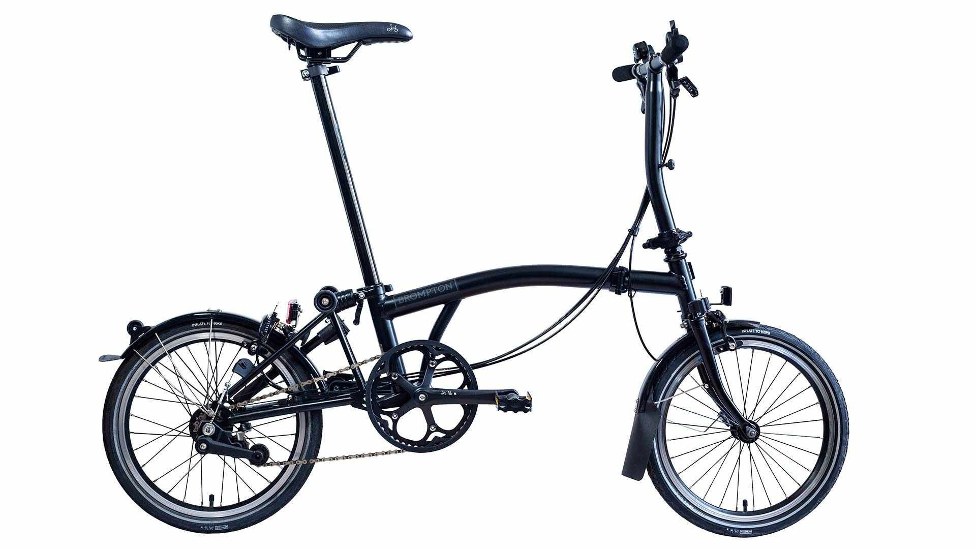A Black Edition Brompton with a black mainframe – probably the stealthiest folding bike in existence