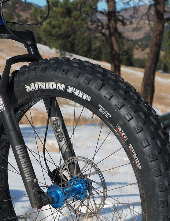 Borealis is clearly going after overall capability on this Crestone build with massive (and incredibly aggressive) 26x4.8in Maxxis Minion tires and a 100mm-travel RockShox Bluto