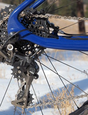Provided you choose your chainring size carefully, the 10-42t SRAM XG-1195 cassette provides sufficient range for exploring the snowy woods