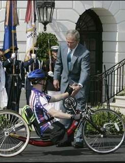 President Bush greets Marine 1st Lietenant Andrew Kinard
