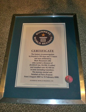 The official Guinness World Record of 194 days and 17 hours, confirmed five days after the finish.