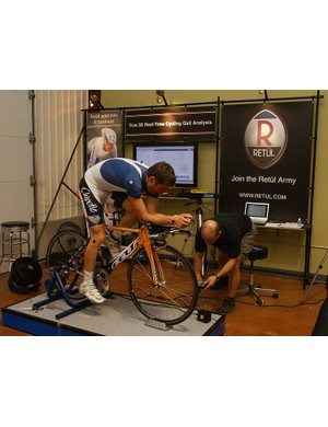 Christian Vande Velde warms up in preparation for his session using the new Retül 3D motion capture system