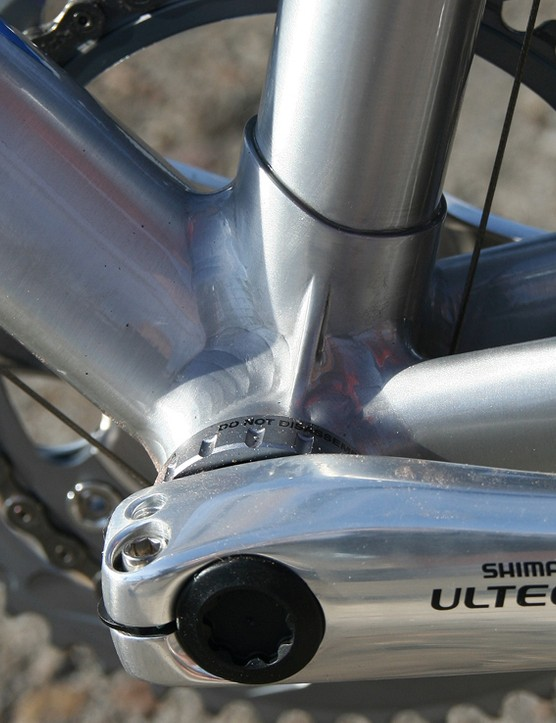 The aluminium bottom bracket makes for efficient power transfer