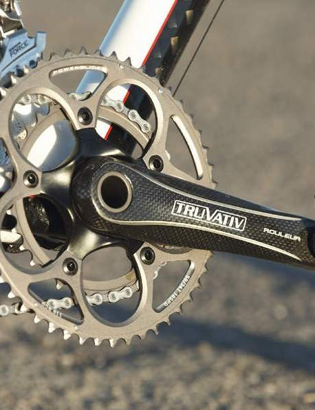 Carbon Truvativ Rouleur compact chainset is chunky but lightweight