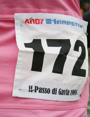 The Andy Hampsten limited edition jersey comes with Andy's Giro d'Italia back number