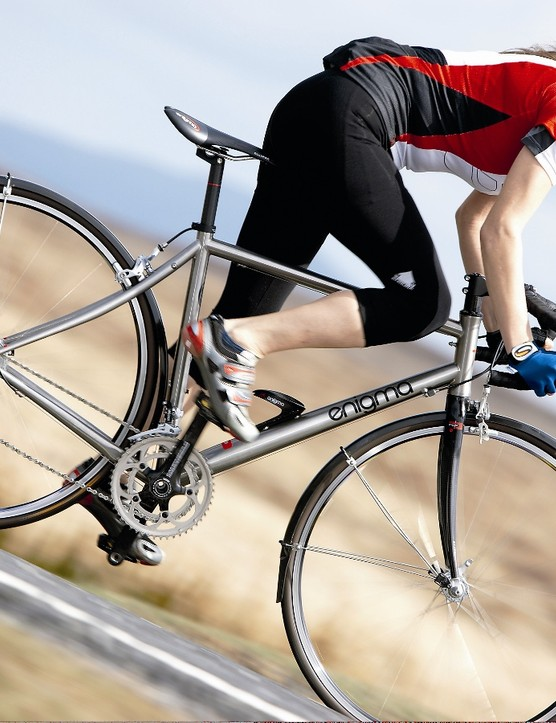With guards and a stiff enough frame to race, the Enigma is the most versatile bike on test