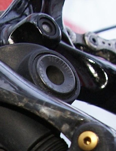A titanium bolt mounts the new rear derailleur to the frame.