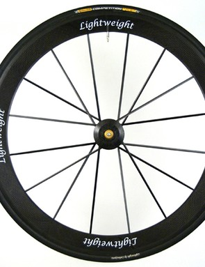 The front wheel spoke lacing is also one-cross but 12-, 16-, and 20-spoke options are available