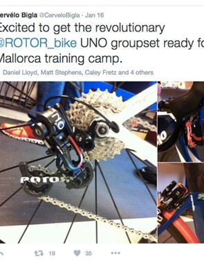 Cervelo-Bigla team members are already playing with Rotor's new Uno hydraulic groupset