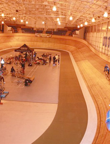 A team rides in the Pudsey 24 hour at Calshot velodrome for Children in Need