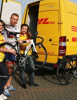 Chris Hoy and his helpers load up bikes and kit for Bolivian cyclists.