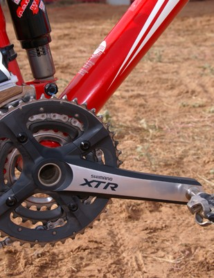 Shimano's XTR crankset and pedals put the power down.