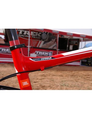 Shaped tubes abound on the frame including where the top tube meets the seat tube.