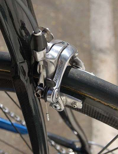 The Shimano Dura-Ace rear brake is fitted to a rather stout-looking carbon wishbone.