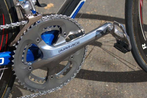 Clarke's bike is fitted  with a Shimano Dura-Ace groupset including these 172.5mm cranks.