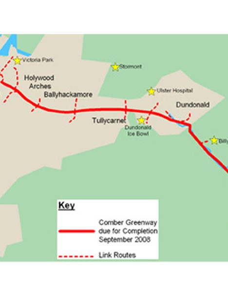 The route of the 7km-long Comber Greenway