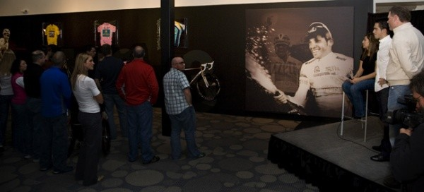 Contador (R) looks on as Trek employees hear president John Burke talk about Contador's bikes.