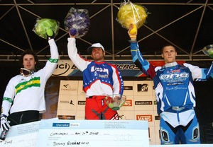 American Donny Robinson on the podium in Copenhagen May 10.