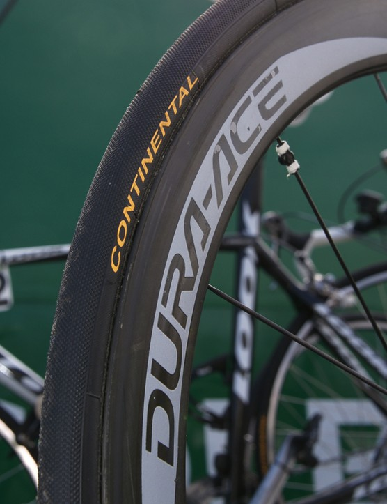 Team-only Continental tubulars offered Thor Hushovd good grip on the pavé.