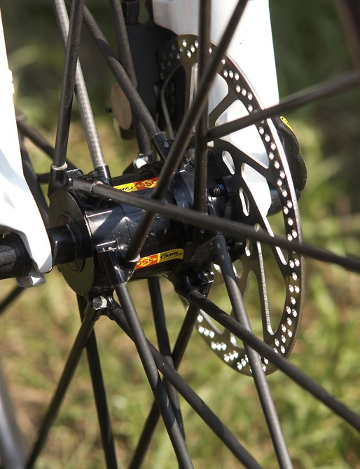 The carbon spokes are bonded direct to the hub
