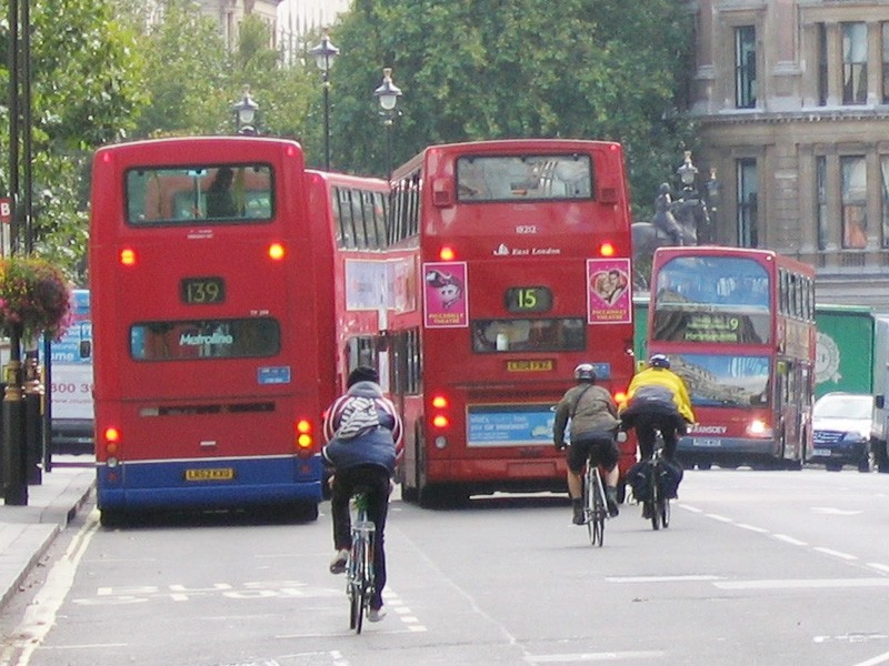 Cyclists and buses are used to mixing