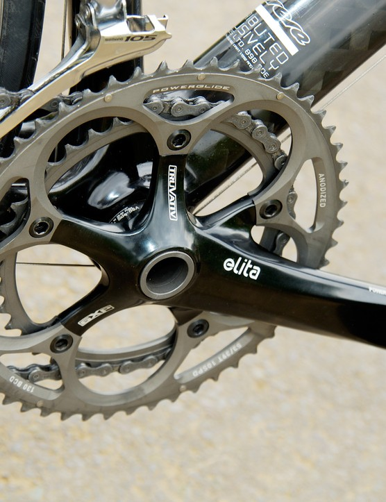 Truvativ Elita forged alloy crankset is elegant and has the now-standard 53/39 ring combo