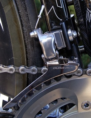 A Dura-Ace front derailleur is offered a stable foundation by the riveted braze-on mount.